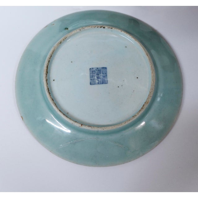 19th Chinese Export Rose Canton Celadon Porcelain Plates - Set of 3 For Sale - Image 11 of 12