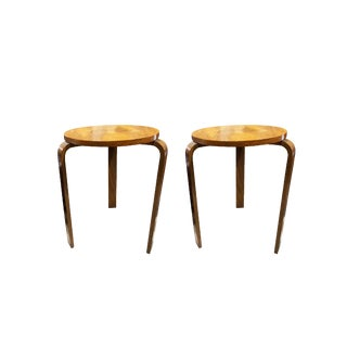 1950s Danish Modern Eames Bentwood End Tables - a Pair For Sale