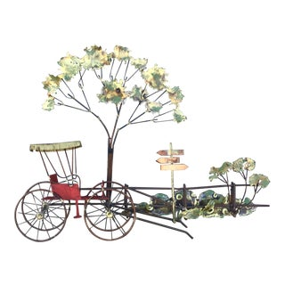 1974 Curtis Jeré Metal Carriage at Crossroads Sculptural Wall Art, Signed For Sale