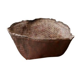 Large Primitive Hide Basket For Sale