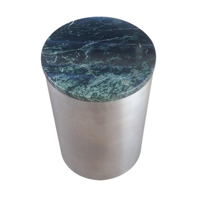 Paul Mayen Cylindric and Green Marble End Table - Image 1 of 6
