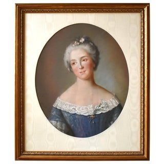 C. 1750s French School Pastel Portrait of a Lady in Blue For Sale