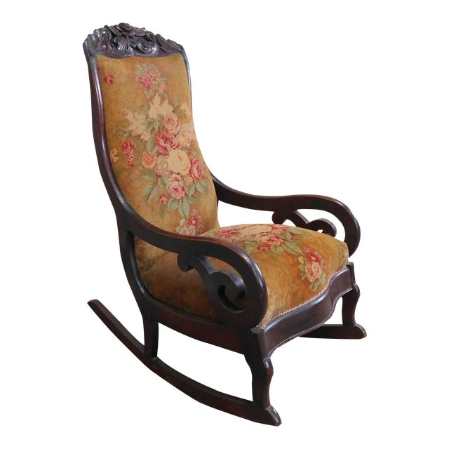 Antique Victorian Era Carved Walnut Lincoln Rocker Rocking Chair c1860 - Antique Victorian Era Carved Walnut Lincoln Rocker Rocking Chair