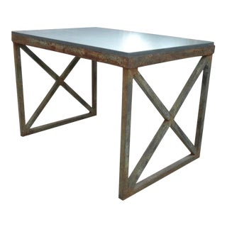 Modern X-Base Iron Table With Stone Top For Sale