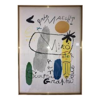 """Vintage Surrealist Joan Miro """"Sculpture-Art Graphique"""" Lithographic Poster For Sale"""