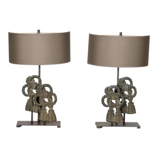 Belgian Custom Designed Iron Bow Table Lamps - A Pair For Sale