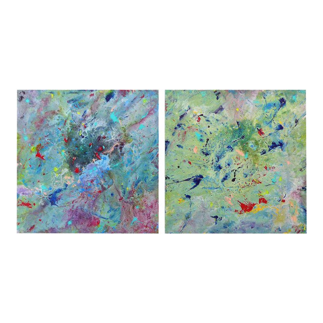 Diptych Abstract Paintings by Brazilian Artist Sandro War - A Pair For Sale