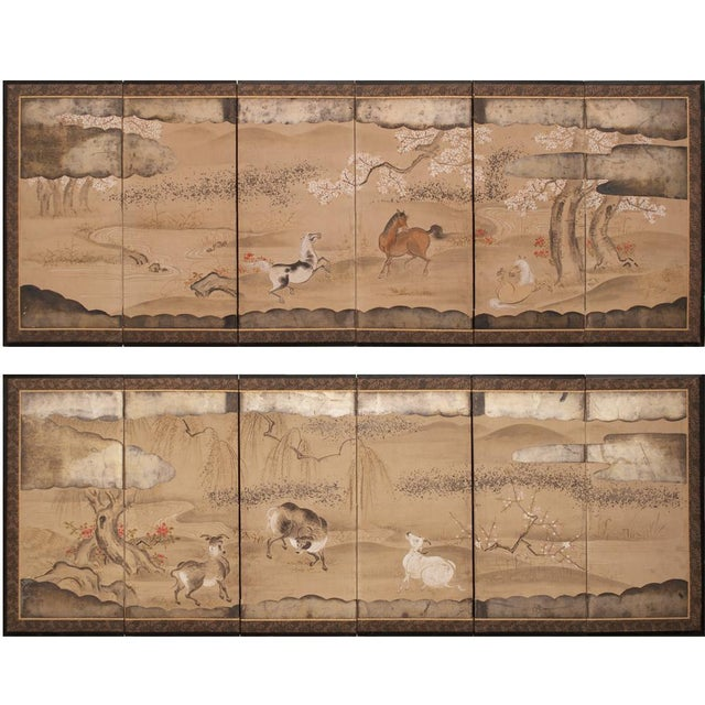 19th Century Late Edo Era Gold Leaf Japanese Byobu Screens- a Pair For Sale - Image 12 of 13