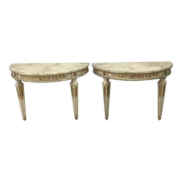 1920s Italian Painted Carved and Gilt Demi Lune Console Tables - a Pair For Sale