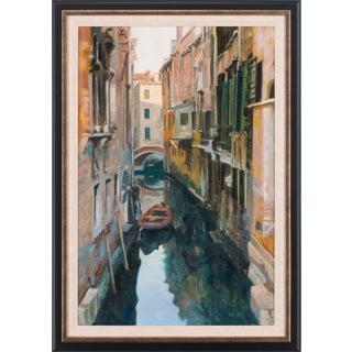 """2003 """"Shadowed Canal"""" Oil Painting by Andrew Jones, Framed For Sale"""