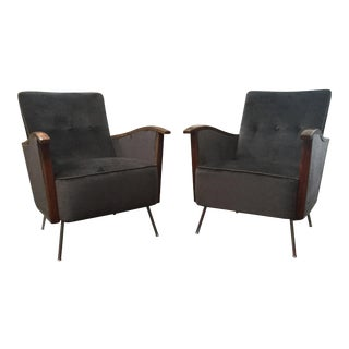 1960s Vintage French Art Deco Arm Chairs- a Pair For Sale