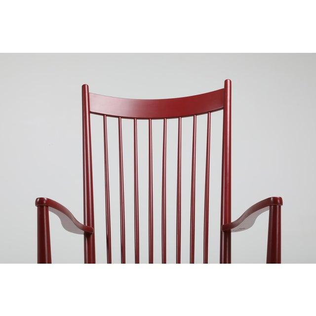 Wood Hans Wegner J16 Rocking Chair in Burgundy For Sale - Image 7 of 9