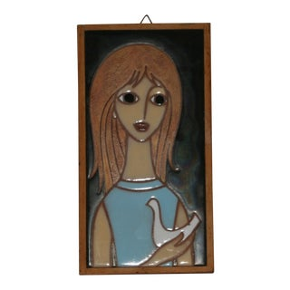 "Mid-Century Modern Helen Michaelides ""Girl With Dove"" Enamel Hanging Wall Tile"