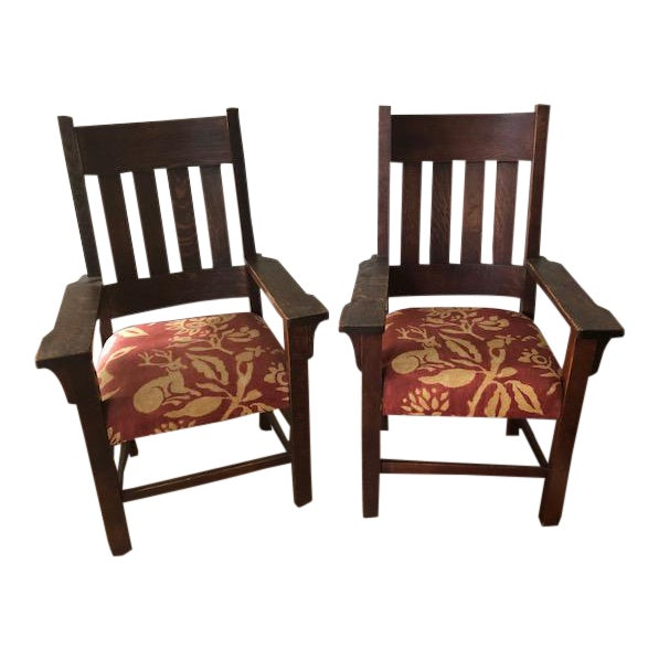 1930s Vintage Mission Style Arm Chairs A Pair Chairish