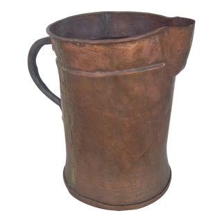 Vintage Rustic Copper Pitcher For Sale