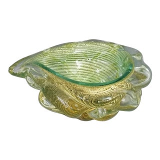 1950s Murano Glass Gold and Green Bowl by Barovier & Toso For Sale