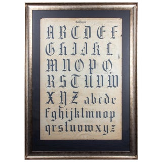 Late 19th Century Antique French Gothic Calligraphy Drawing For Sale