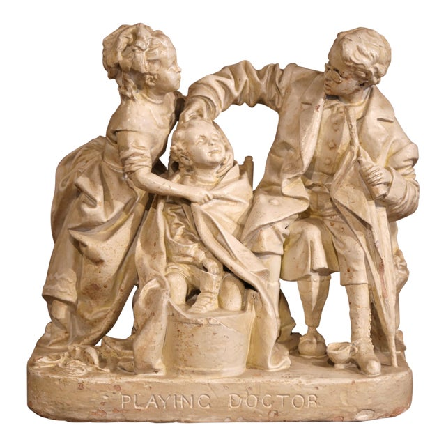 "19th Century American Cast Plaster Sculpture ""Playing Doctor"" Signed John Rogers For Sale"