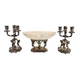 Three-Piece-Point Cherub Candelabra Centerpiece Set, 19th-20th Century - Set of 3 For Sale