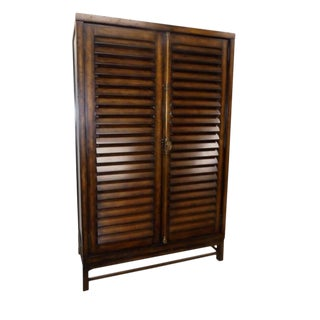 Cottage Ralph Lauren Plantation Style Louvered Flat Screen Armoire Cabinet For Sale
