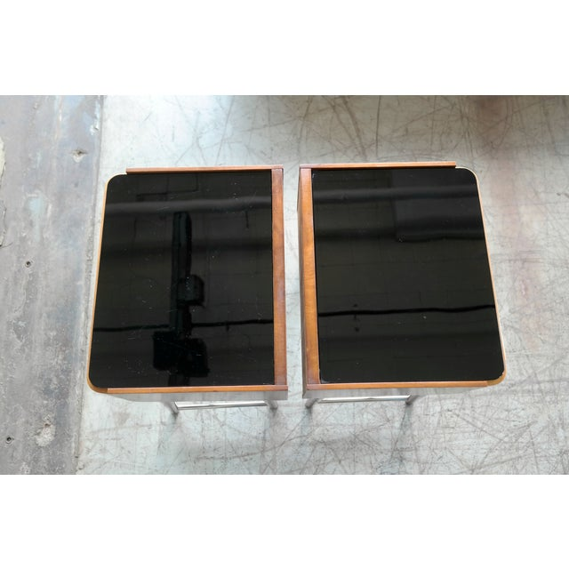 Black Pair of Danish Midcentury Nightstands in Teak and Elm With Black Glass Top For Sale - Image 8 of 11