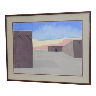Vintage Southwest Pueblo Landscape Original Pastel Painting C.1985 For Sale