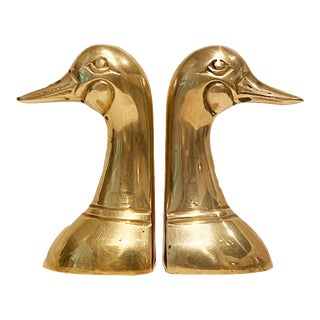 Mid-Century Gold Brass Mallard Duck Bookends - a Pair For Sale