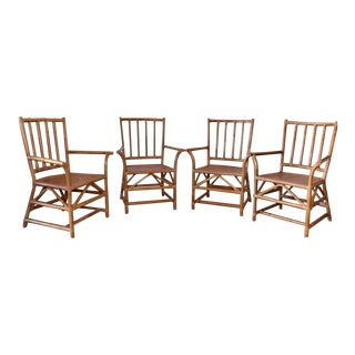 Vintage Rattan and Leather Chairs- Set of 4 For Sale