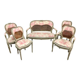 Louis XV French Caned Settee & Chairs - Set of 5