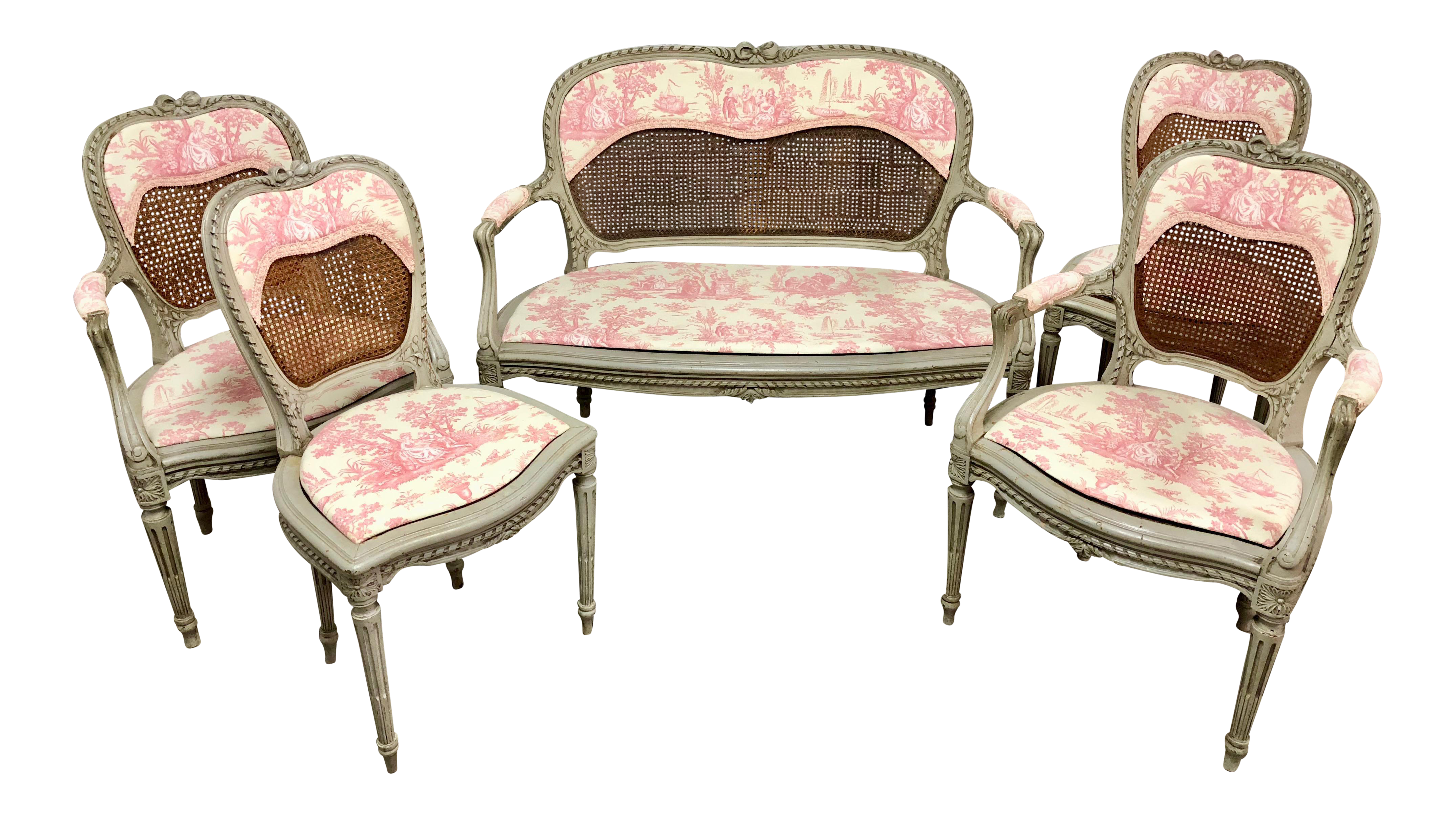 Louis XV French Caned Settee U0026 Chairs   Set Of 5   Image 1 Of 10