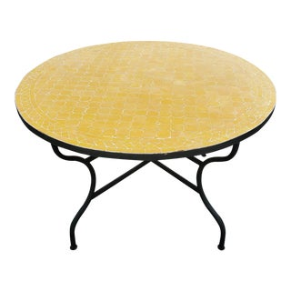 "Moroccan 48"" Round Mosaic Table, Yellow Mustard For Sale"