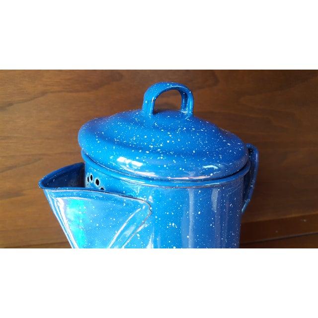 Vintage Blue Enamel Graniteware Enamel Tea Kettle For Sale - Image 9 of 13