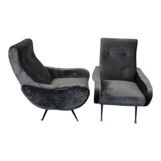 1950s Vintage Mid-Century Modern Italian Zanuso Lounge Chairs - a Pair For Sale