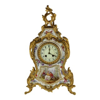 Antique French Louis XVI Handpainted Porcelain & Bronze Clock For Sale