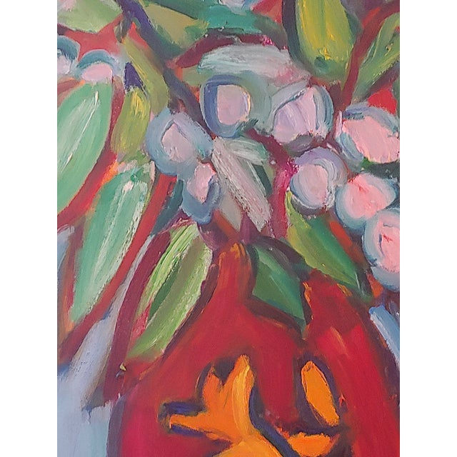 Abstract Original Lilies 1 Abstract Still Life Large Painting by Richard Youniss For Sale - Image 3 of 11