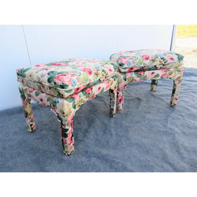 Late 20th Century Parsons Chinoiserie Style Rose Upholstered Stools - a Pair For Sale In Philadelphia - Image 6 of 6