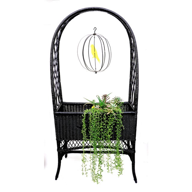 Black Lacquered Wicker Plant Stand Arched Trellis Fernery Box For Sale - Image 10 of 11