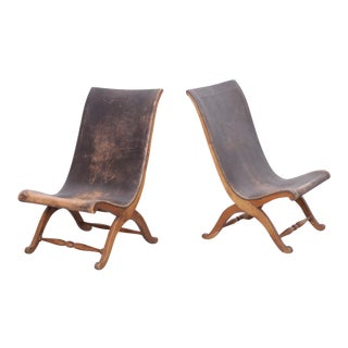 Unique Pair of 1940s Leather Miguelito Butaque Chairs from Mexico For Sale