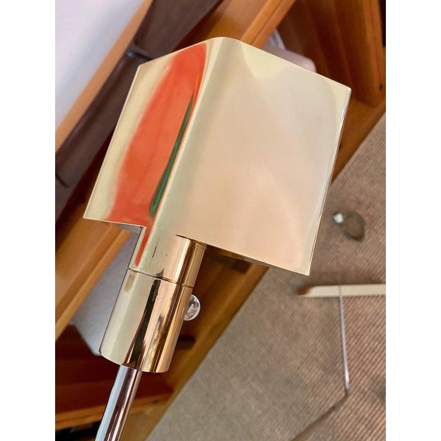 1960s Cedric Hartman Brass / Stainless Steel Height Adjustable / Swivel Floor Lamps - Set of 2 For Sale - Image 5 of 13