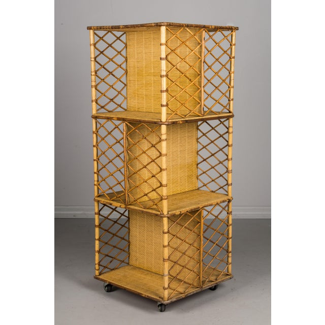 Adrien Audoux and Frida Minet Mid-Century French Riviera Bamboo & Rattan Bookcase For Sale - Image 4 of 11