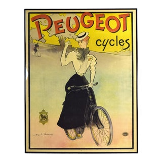 Original 1897 Charles Lucas Peugeot Cycles Color Lithographic Advertising Poster For Sale