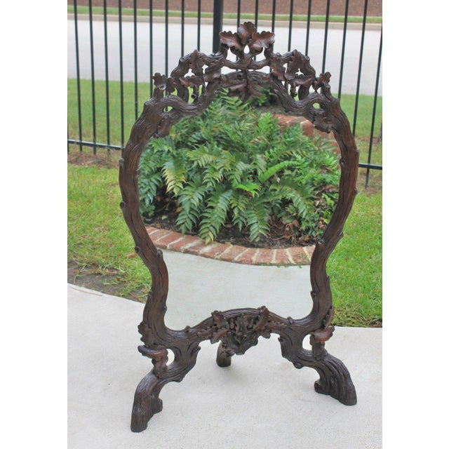 EXQUISITE 19th Century Antique French Oak BLACK FOREST Beveled Framed Mirror or Firescreen~~c. 1880s ~~We were fortunate...