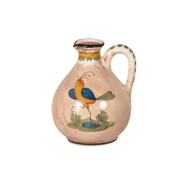 Hand-Painted Ceramic Bird Pitcher For Sale