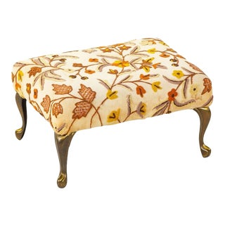 Antique Floral Embroidered Victorian Footstool For Sale