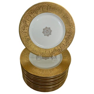 Wide Gold Bordered Service Plates - Set of 12 For Sale