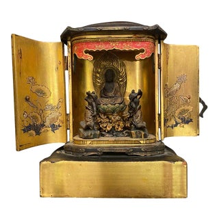 Late 19th Century Japanese Traveling Shrine Zushi Buddhism Temple For Sale