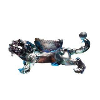 Chinese Liuli Crystal Glass Pate-de-verre Blue Pixiu Display Figure