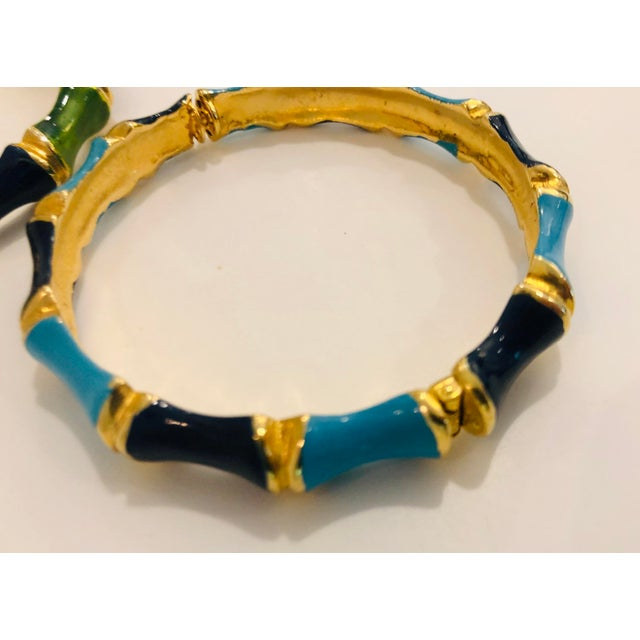 1980s Bamboo Shaped Enameled Bracelets - a Pair For Sale - Image 4 of 7