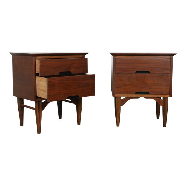 Mid-Century Walnut Nightstands - A Pair - Image 1 of 11