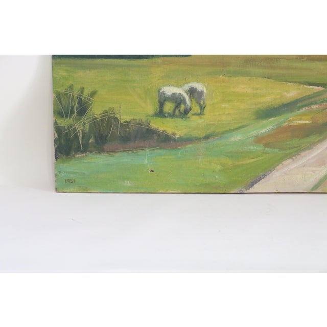 Abstract Danish Country Landscape Painting For Sale - Image 4 of 7